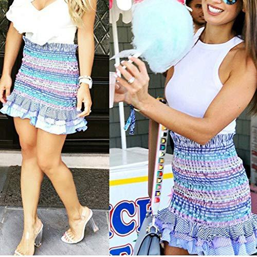 Lavany  Women's Ruffled Beach Skirt Sexy High Waist Stripe Summer Skirts for Girls Blue by Lavany  (Image #2)