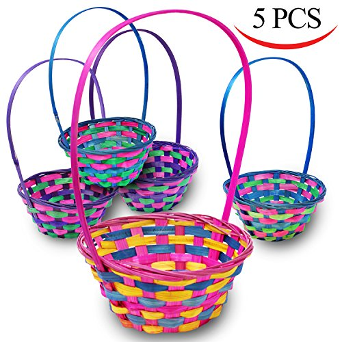 Deluxe Bamboo Easter Baskets 5 Pieces Multicolor Round Shapes Straw Woven Basket for Easter Theme Garden Party Favors, Easter Eggs Hunt, Easter Goodies Goody by Joyin (Shape Straw)