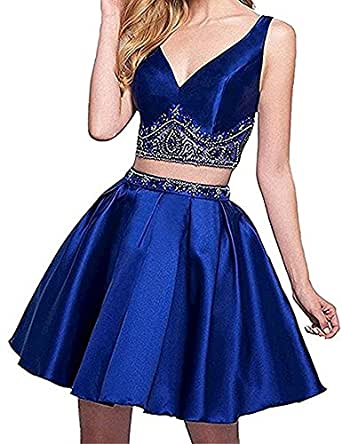 Staypretty Two Piece V Neck Beaded Satin Homecoming Dress Knee Length A-line Women Cocktail Prom Party Gown Royal Blue 12