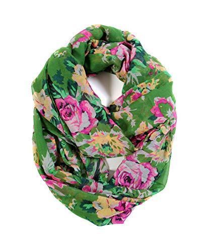 Scarfand's Romantic Rose Print Lightweight Infinity Scarf (Bouquet Rose Green)