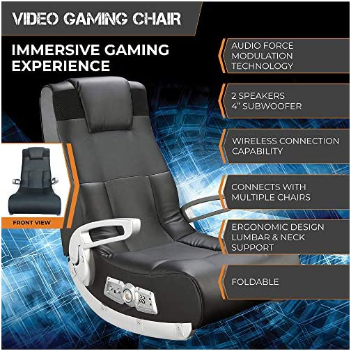 Ace Bayou X Rocker II SE 2.1 Black Leather Floor Video Gaming Chair for Adult, Teen, and Kid Gamers with Armrest and Headrest  – High Tech Audio and Wireless Capacity – Ergonomic Back Support