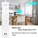 Smart Power Strip Wifi Surge Protector Alexa Google Home IFTTT Compatible Outlet Voice Control Electronic Wireless Plugs with 4 AC Outlets(16A/125V/1875W) App Remote Control No Hub Required Timer