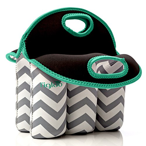 Neoprene 6 Pack Bottle Carrier, Extra Thick Insulated Baby Bottle Cooler Bag Keeps Baby Bottles Cold or Warm Great as Baby Shower Gift (gray chevron aqua trim) by Vettore (Image #2)