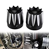 Black CNC Deep Edge Cut Front Axle Cap Nut Cover For Harley Touring FLHX FLHR FLTR VRSC Dyna Road Glide King FLHT(Pack 2)