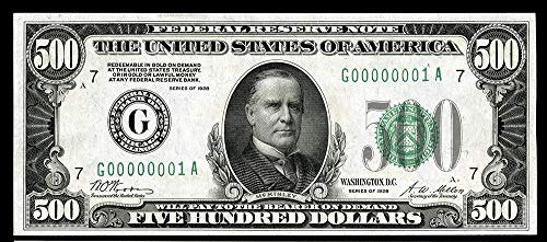 1934 No Mint Mark Federal Reserve Note $500 Seller Very Fine -