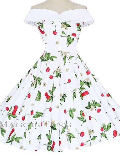 PU&PU Robe Aux femmes Gaine / Swing Vintage,Fleur Bateau Mi-long Coton , white-m , white-m
