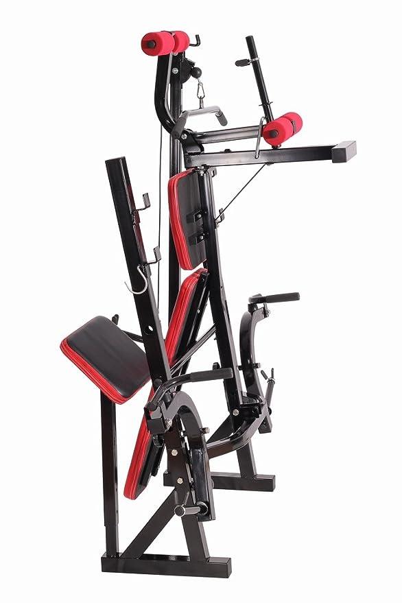 SportPlus SP-WB-005-B Banco de Musculación Plegable, 2 Soportes para Barras, Brazos de Mariposa, Respaldo Ajustable, Peso del Usuario hasta 100 kg, ...