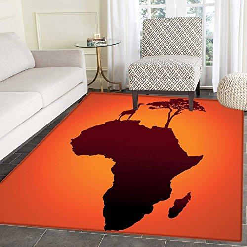 African small rug Carpet Safari Map with Continent Giraffe and Tree Silhouette Savannah Wild Design door mat indoors Bathroom Mats Non Slip 2'x3' Orange and Brown ()