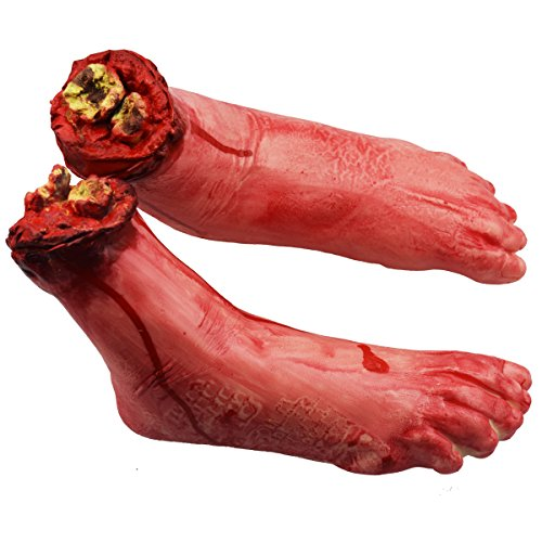 XONOR Fake Human Severed Feet Bloody Dead Body Parts Haunted House Halloween Decorations, 2-Pieces (Left and Right)]()