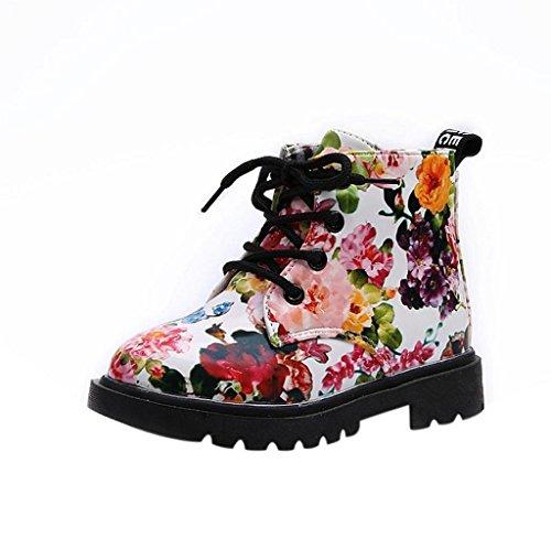 Amcool Baby Mädchen Mode Blumen Schuhe Warm Martin Stiefel (21EU/13,5CM, Schwarz) Weiß
