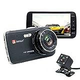 junsun Dash Cam car car dvr recorder dual camera Full HD 1296P 4'' backup camera 170 degree wide-angle Black Box