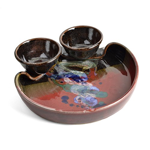 Larrabee Ceramics Double Bowl Chip and Dip Platter, Red/Multi
