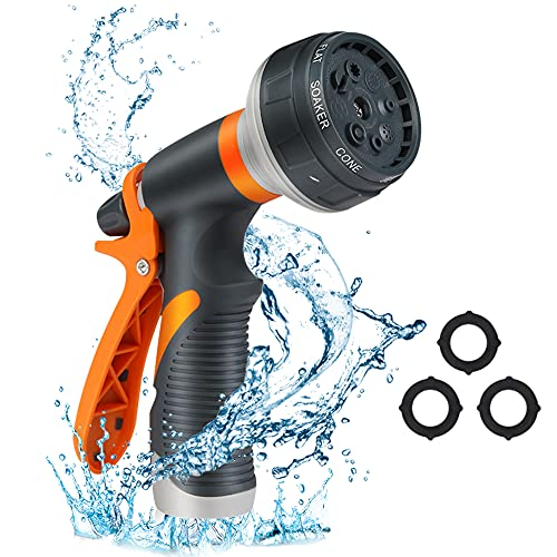 Garden Hose Nozzle, Water Hose Nozzle with 8 Adjustable Spray Patterns, Slip and Shock Resistant High Pressure Water Spray Nozzle for Watering Plants Cleaning Car Wash and Showering Pets