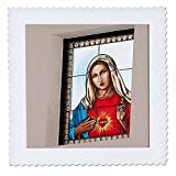 3dRose qs_52159_1 A Stained Glass Window at The Catholic Church with Mary in it Done in a Poster Finish Close Up Quilt Square, 10 by 10-Inch