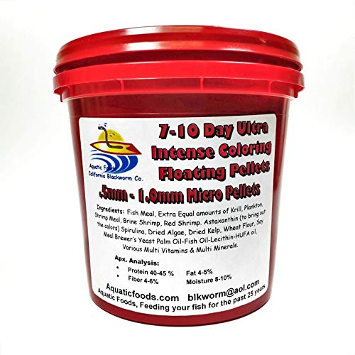 Aquatic Foods Inc. 7-10 Day Ultra Intense Color Enhancing - .5mm -1mm for Cichlids, Discus, All Tropical Fish Floating Pellets 500g / 1.1 lbs