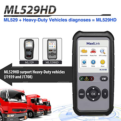 Autel ML529HD OBD2 Scan Tool Upgraded ML519 with Enhanced Mode 6/One-Key Ready Test for Heavy-Duty J1939 & J1708 with AutoVIN/Internet Updatable/Print Data by Autel (Image #2)