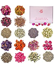 160 g Dried Flowers -Set of 16 Varieties Organic Fresh Scent Dried Herbs for Soap Making, DIY Candle Making, Oil Resin Lip Gloss, Witchcraft Supplies, Includes Lavender Rose Petals Jasmine