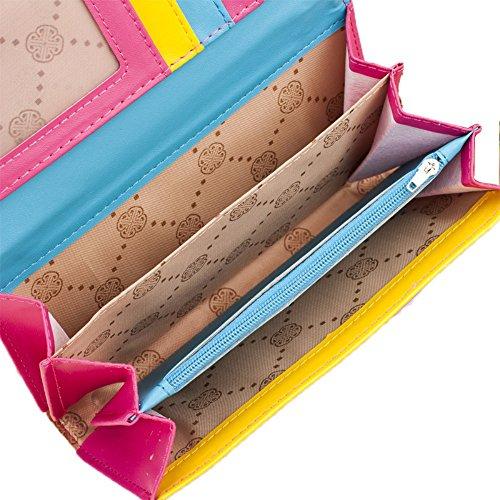 Postmark Eiffel Wallet Purse Donna Fashion Torre Card Handbag Borsetta Uming® Delle Della Zipper Portafoglio Del Pouch Stripe Variopinta Signora Pu Moda Paris Clutch Borsa black Colorful Slots YCYWO6BfS