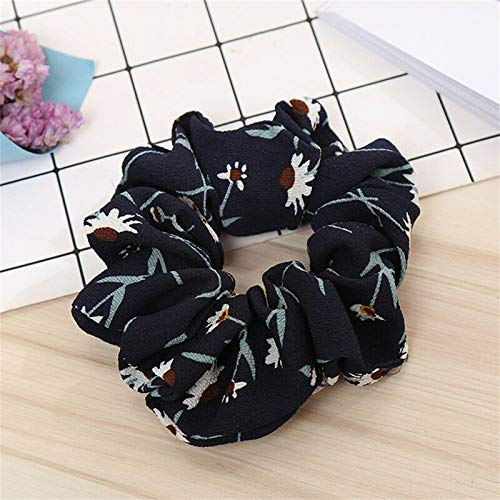 (2PCS Women Elastic Hair Band Scrunchie Fabric Floral Print Rope Ponytail Holder (Colors - black))