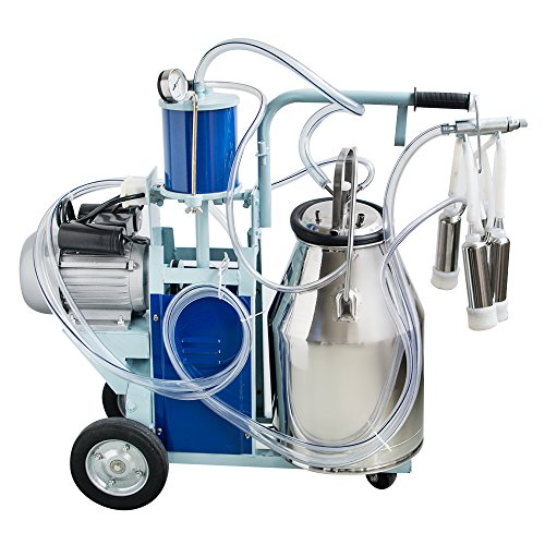 Enshey Electric Milking Machine 25L 550W Argricultural Portable Stainless Steel Farm Ewe Milking Milker 1440rmp/min Single Bucket Piston Tank Container Barrel Set Kit for Cows Cattle or Sheep by Enshey