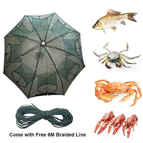 6/8/10/12/16 Holes Automatic Fishing Net Landing Net Trap Cast Dip Cage Fish Shrimp Trap Fish Net Minnow Crayfish Crab Baits Cast Mesh Trap (Automatic 8 Sides 8 Holes) ()