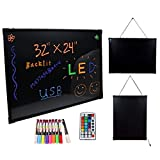 Gracelove 32''x24'' LED Message Writing Board Menu Sign Flashing Illuminated Erasable Neon with 9 CKS Fluorescent Pens