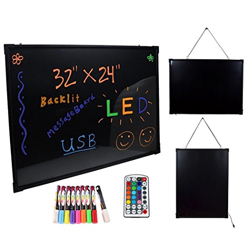 Gracelove 32''x24'' LED Message Writing Board Menu Sign Flashing Illuminated Erasable Neon with 9 CKS Fluorescent Pens by Gracelove