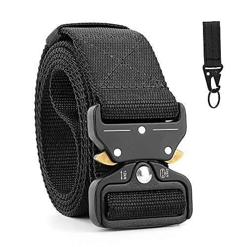 Gun Clip (Military EDC Tactical Belt for Men with Key Ring Clip, Shooter Gun Belts for Concealed Carry, Heavy Duty Webbing Belt (Black, Nylon, 1 Ply, Waist 34-42