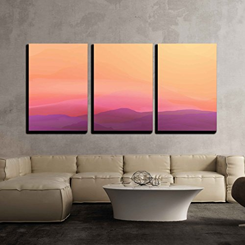 Abstract Landscape - wall26 - 3 Piece Canvas Wall Art - Abstract Smooth Blurred Mountain Landscape - Vector Illustration - Modern Home Decor Stretched and Framed Ready to Hang - 24