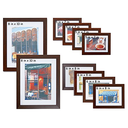 Set Frame Brown - Lucky Tree 10 Pieces Assorted Wall Picture Frame Collage Set for Different Sizes-2 pcs 8x10 in, 4 pcs 6x8 in, 4 pcs 5x7 in, Antique Brown