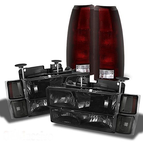(For 1994-1998 C/K Suburban Tahoe Silverado Smoked Headlights+Bumper+Corner+Red Smoked Tail Lights Combo)