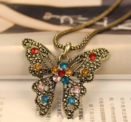 Jade Onlines Antique Vintage Retro Adorable Cute Hollow Jewelry Rhinestone Butterfly Long Necklace Pendant For Sweaters Hoodies