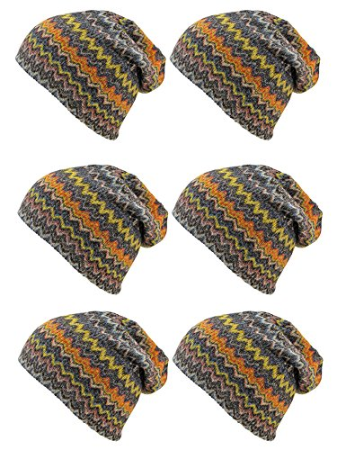 - 6-Pack Black & Orange Chevron Stripe Slouch Beanie Hats
