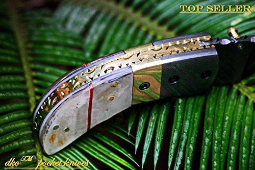 DKC-43-PS-Pearl-Shell-Thumb-Damascus-Steel-Folding-Pocket-Knife-35-Folded-625-Open-75oz-225-Blade-High-Class-Looks-Incredible-Damascus-Bolster-DKC-Knives