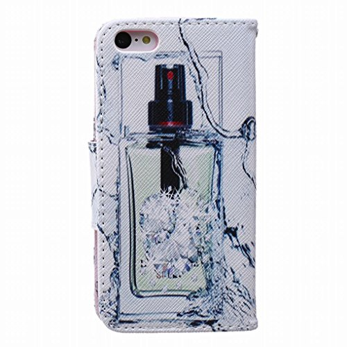 LEMORRY iphone 5C Flip Etui Housse, [Double Imprimé] Perfume Durable Soft TPU Coque + PU Cuir Portefeuille Cards Stand Magnétique Sangle Flexible Skin Protecteur