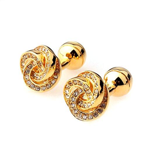 1 Paire Bouton de Manchette en Strass Mode Elégant Couleur d'Or
