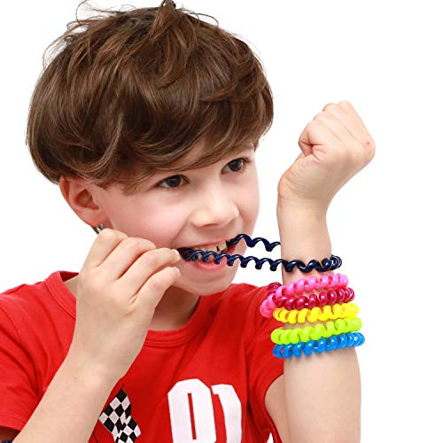 Bracelet Coil - SANHO Chewable Jewelry Coil Bracelet Set- Speech and Communication Aid for Autism and Sensory, Assorted Colors (Set of 6)
