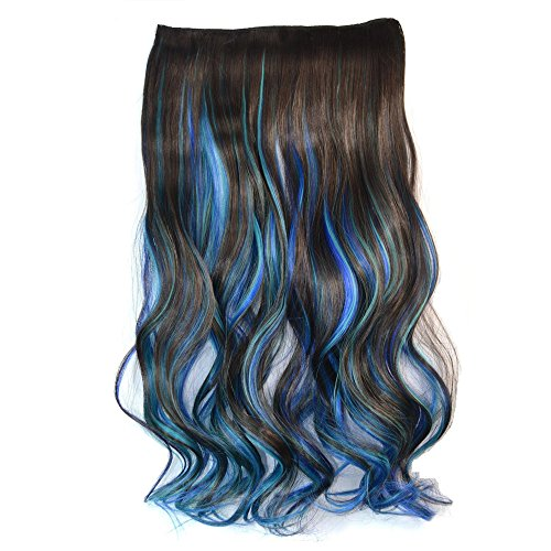 Sapphire Clip - Awbin 23 Inch Dark Brown Sky Blue and Sapphire 3 Mixed Color Wavy Clip in Hair Extension