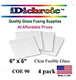 ON SALE, 6 inch Square Clear Fusible Glass COE 90 - 4 Pack