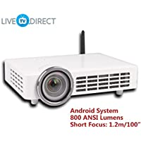 Short Focus Smart Projector, LiveTV.Direct DLP-1000 Fisheye Short Focus Android 3D Projector 1080p HD LED Home Theater Projector TV 800 ANSI Lumens and Bulid-in LiveTV Service