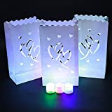 Candle Paper Bag,Luminary TeaLight Hollowed , Make for Wedding Birthday Courtship New Year or Other Party more perfect,White,20pcs (Twin-Heart)