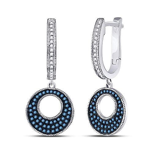 Jewels By Lux 10kt White Gold Womens Round Blue Color Enhanced Diamond Circle Dangle Earrings 3/8 Cttw In Pave Setting (I2-I3 clarity; Blue color)