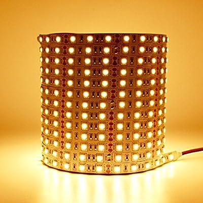LEDMY Flexible Led Strip Lights DC12V 72W SMD5050 300LEDs Not Waterproof Led indoor lighting Warm White 3000K 5Meter/ 16.4Feet Using for Gardens, Homes, Kitchen, Car and Bar