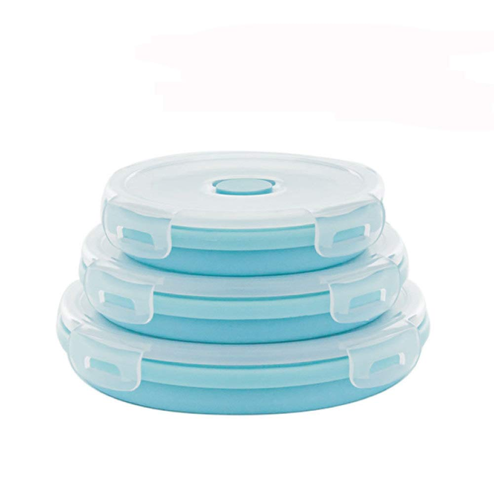 KnvcDey Silicone Collapsible Bowl,Camping Hiking Portable Travel Food Storage containers Lunch bento Box bpa Free Microwave Dishwasher and Freezer Safe Space-Saving-Blueb 3 Pack by KnvcDey