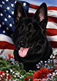 German Shepherd Dog Breed Patriotic House Flag 28 x 40 Inches Black