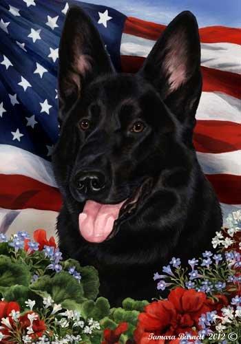 German Shepherd Dog Breed Patriotic House Flag 28 x 40 Inches Black