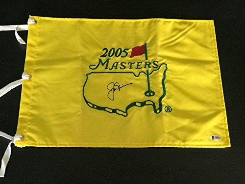 Jack Nicklaus Signed Auto Official 2005 Masters Flag Beckett Bas 3 - Beckett Authentication - Autographed Golf Pin Flags