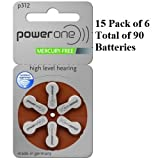 90 x Power One P312 Hearing Aid Batteries