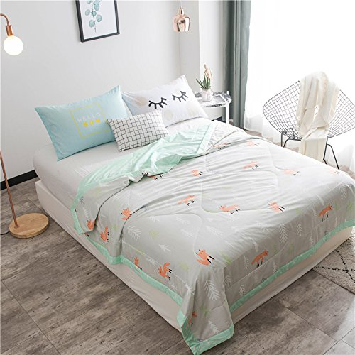 KFZ Summer Cool Quilt Comforter for Bed Set No Pillow Cover Sheets WN Twin Full Queen Size Puppy Pengiun Fox Flamingo Animal Cartoon Design For Kids Adults 1 PC (Forest Fox, Pink, Twin 59''x79'')