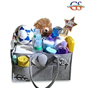 Baby Diaper Caddy – Diaper Bag Organizer Storage bin for Car and Nursery – Easily holds Baby Wipes, Diapers, Onesies, Medicines, toys, and Breast Pump. Free pacifier clips included